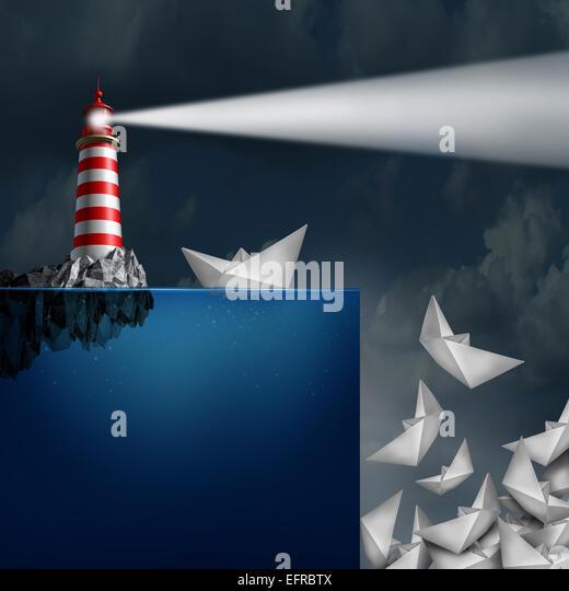 Schlechte Beratung Konzept als ein Leuchtturm mit einem hellen Leuchtfeuer nachschauen guiding Papier Schiffe von Stockbild