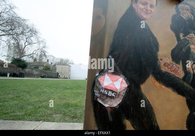 Westminster, London, UK. 11. Februar 2015. Kaya Mar Künstler zeigt seine jüngsten politischen Bilder von Stockbild