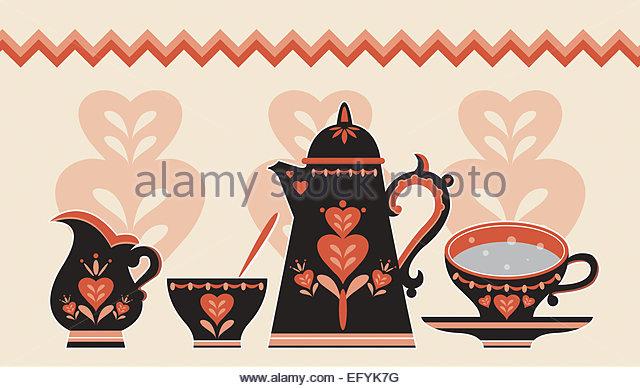 Retro-Kaffee set Illustration Stockbild