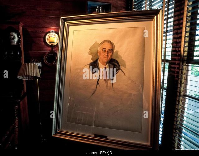 Ein Porträt von US-Präsident Franklin Delano Roosevelt war am Tag gemalt, als, den er 1945 in Warm Springs, - Stock-Bilder
