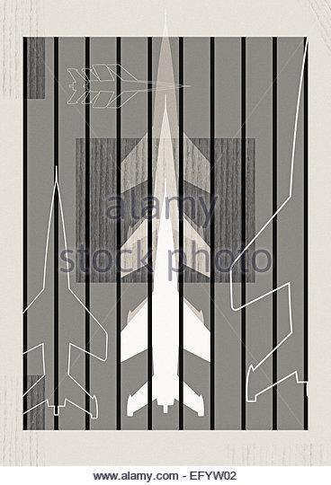 Retro militärische Rakete Holz Tafel Abbildung Stockbild
