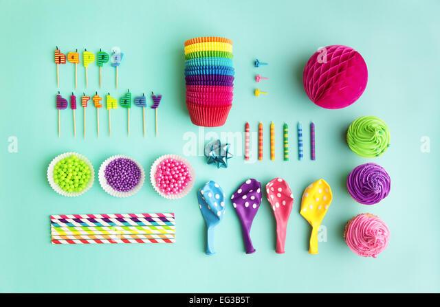Draufsicht der Objektsammlung Geburtstag party Stockbild