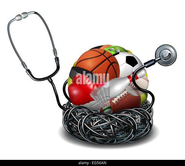Sportmedizin-Konzept und sportliche medizinische Versorgung Symbol als ein Arzt Stethoskop verwirrt um eine Gruppe Stockbild