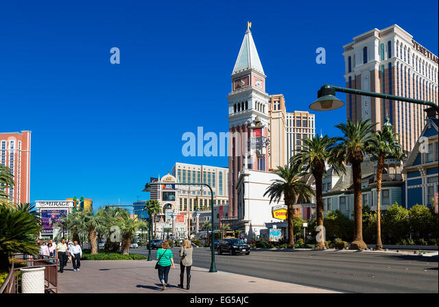 Luxus-Hotels und dem berühmten Las Vegas Strip Stockbild