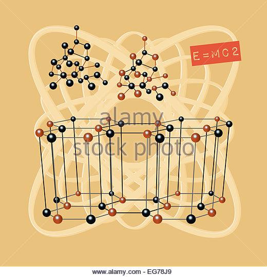 Atomenergie Struktur Wissenschaft Abbildung e = mc2 Stockbild