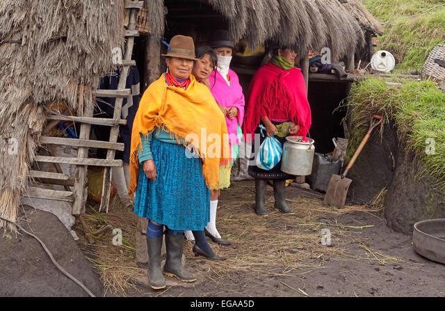 Einheimische Familie Quilotoa Provinz Cotopaxi-Ecuador Stockbild