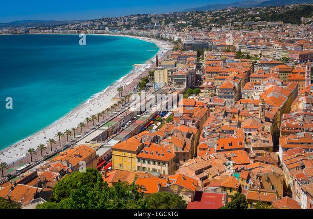 Promenade des Anglais von oben Nizza, Frankreich - Stock-Bilder