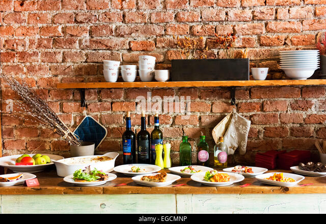 Gutes Essen im Hause Küche Restaurant in der Prager Neustadt. Stockbild