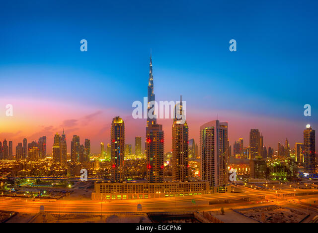 Skyline von Dubai Stockbild