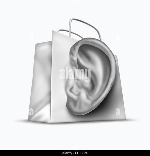 Kunden Umfrage Konzept wie eine Einkaufstasche, geformt wie ein menschliches Ohr als Retail Geschäft Symbol Stockbild