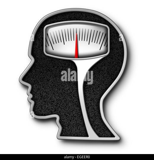 Diät-Psychologie-Konzept als normale Waage in Form eines menschlichen Kopfes als Symbol für das Essen Stockbild
