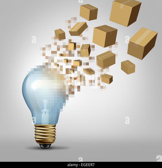 Idee zur Wirklichkeit als eine Glühbirne wird Digital pixelig und die verschlüsselte Fragmente Umwandlung Stockbild