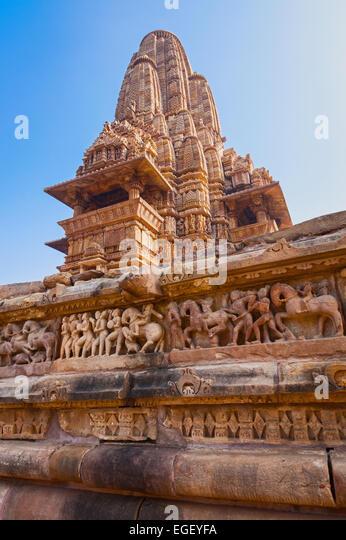 Lakshmana Tempel liegt in der westlichen Gruppe der Tempel von Khajuraho in Madhya Pradesh, Indien. Stockbild