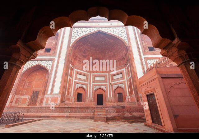 Das große Tor am Taj Mahal in Agra, Indien Komplex. Stockbild