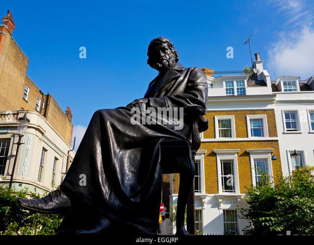 Statue des schottischen Philosophen, Schriftsteller und Historiker Thomas Carlyle von Sir Joseph Edgar Boehm am Stockbild
