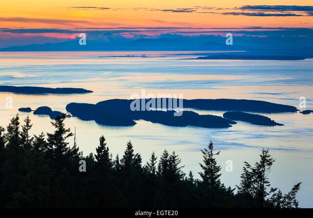 Mount Verfassung ist ein Berg auf Orcas Island und der höchste Punkt in den San Juan Islands. Stockbild