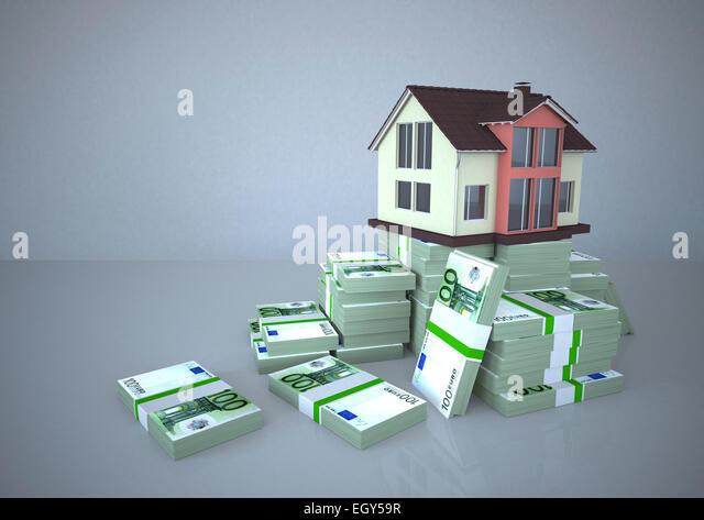 Haus und Euro-Noten, Illustration Stockbild