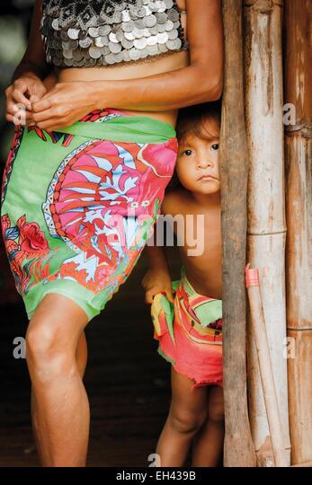 Panama, Darien Provinz Darien National Park, Weltkulturerbe der UNESCO, Embera Indianergemeinde, Portrait eines Stockbild