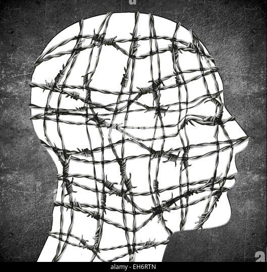 Kopf-Silhouette mit Stacheldraht digitale illustration Stockbild
