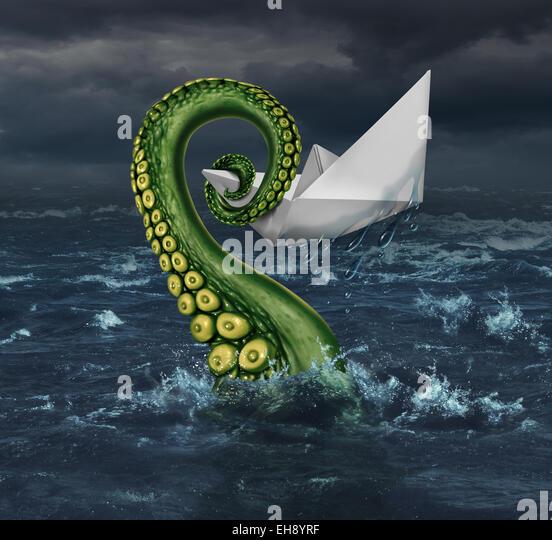 Unternehmen Ärger und finanzielle Falle Konzept als Origami Paper Boot in stürmischer See, von einem Monster Stockbild