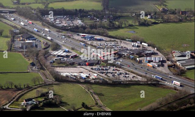 Luftaufnahme von M6 Roadchef Dienstleistungen, Autobahn-service-Station, Sandbach, Cheshire, UK Stockbild