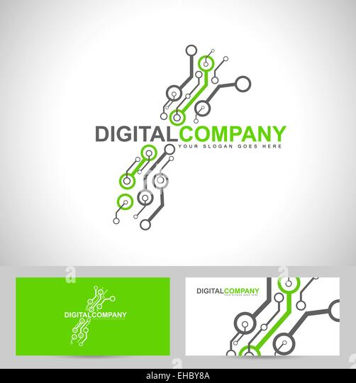 Digitale Elektronik-Logo-Design. Kreative elektronische Schaltungen Logo Vektor Stockbild