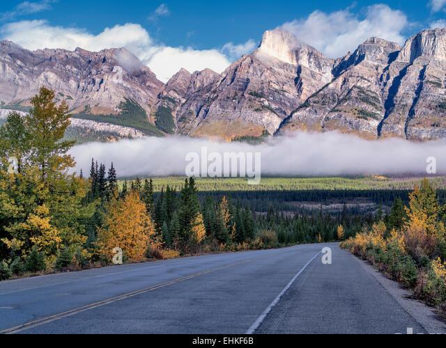 Straße, Nebel und niedrige Wolken mit Herbstfarben. Banff Nationalpark. Alberta, Kanada Stockbild