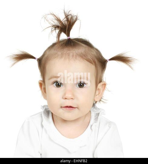 Porträt von kleinen Mädchen mit lustigen Pferdeschwanz Stockbild