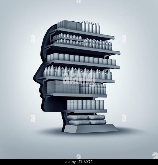 Verbraucher und Kunden Konzept als ein Shop-Regal in Form eines menschlichen Kopfes mit Generika zu verkaufen als Stockbild