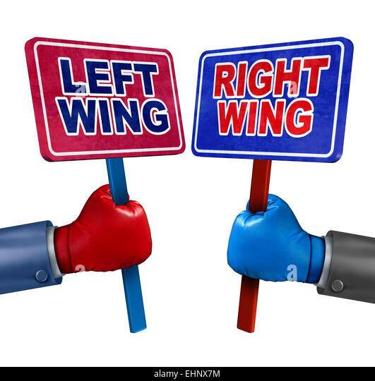 Linker und rechter Politik Konzept als zwei Wahlkandidaten, konservative und liberale Werte als Demokraten und Republikaner Stockbild
