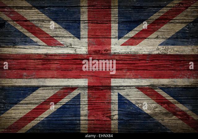 Großbritannien Flagge gemalt auf alten verwitterten, Holz als ein Vereinigtes Königreich Konzept eines Stockbild