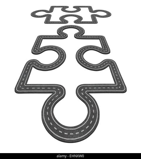 Offroad-Verbindung-Konzept als zwei Puzzleteile, Zusammenführen als ein Transport Symbol und Business Netzwerksymbol Stockbild