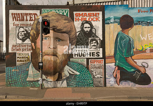 Republikanische Wandbild. West-Belfast. Nordirland Stockbild