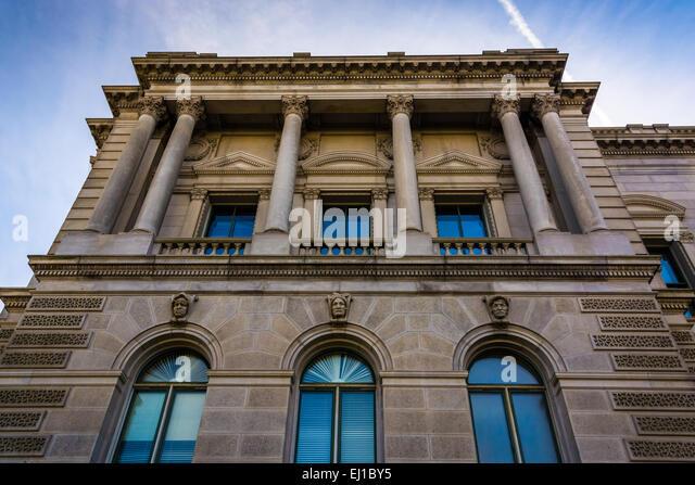 Außenarchitektur der Library of Congress in Washington, DC. Stockbild