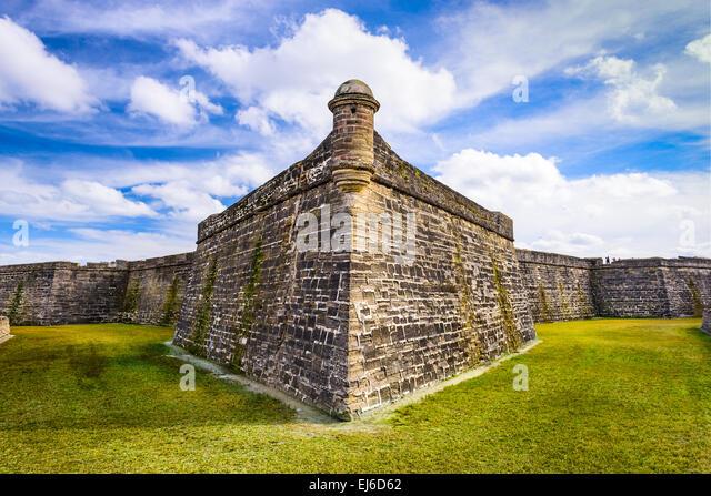 St. Augustine, Florida an das Castillo de San Marcos National Monument. Stockbild