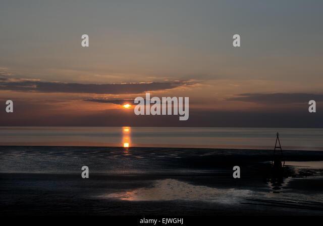 Ein Sonnenuntergang über Hunstanton Beach, North Coast von Norfolk, England, Uk, Gb Stockbild