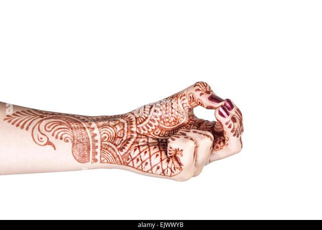 Frau Hand mit Henna Kubera Mudra isoliert auf weißem Hintergrund mit Beschneidungspfad zu tun Stockbild