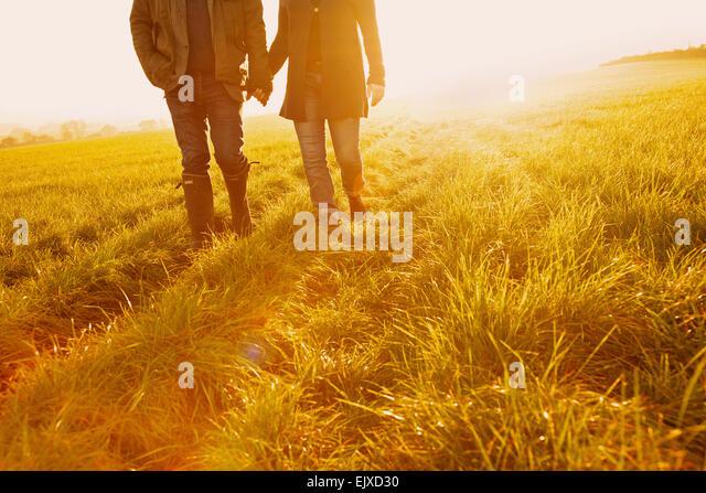 Paare, die in einem Feld Hand in Hand, niedrige Abschnitt Stockbild