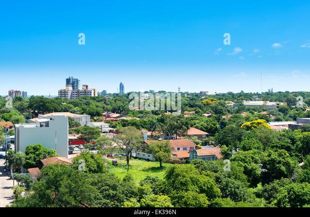 Ansicht einer Wohngegend in Asuncion, Paraguay Stockbild