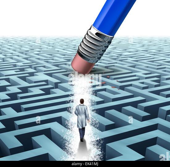Medizinische Leitung Gesundheitswesen Konzept als Arzt oder Wissenschaftler, die zu Fuß durch ein Labyrinth, Stockbild