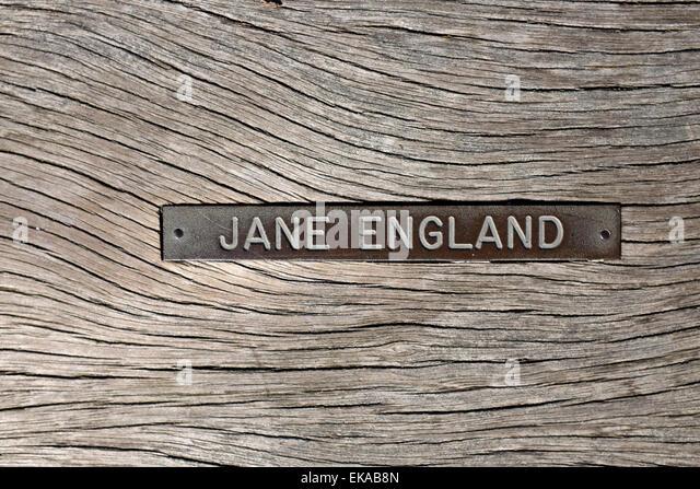 Sponsor Namensplakette auf Clevedon Pier Stockbild