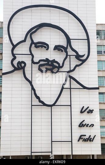 Camilo Cienfuegos, Fidel Castros rechter Mann und sicher während der Revolution, ist Eisen an der vorderen Stockbild