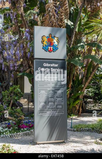 Gibraltar Gerichte Dienstleistungen Gericht Beschwerde Privy Council Zeichen Hauptstraße Gibraltar Stockbild
