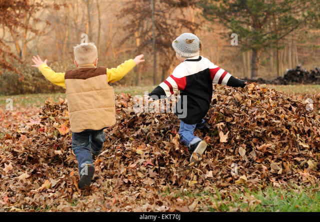 Zwei jungen springen im Herbst Blatt Haufen Stockbild