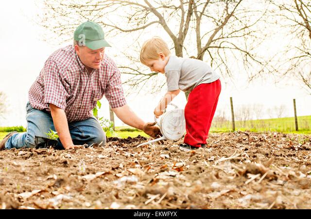 Vater Lehre Sohn zum Garten Stockbild