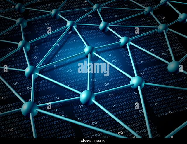 Telekommunikation Netzwerk Struktur und Vernetzung Konzept mit Verbindung Netz auf das Internet als abstrakt Business Stockbild
