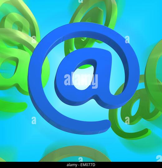 At-Zeichen zeigt e-Mail-Symbol Mail senden Stockbild