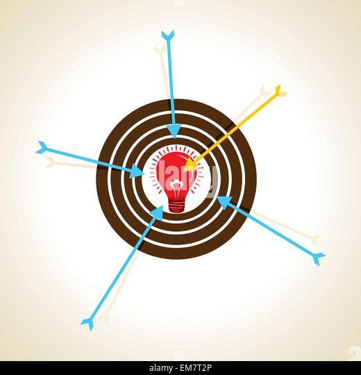 Pfeil-Fokus auf neue Idee Konzept Stockbild