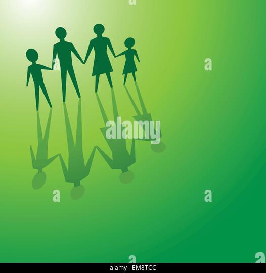 Familie in grüne Konzepte Stockbild