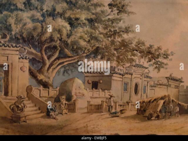 A-Ma-Tempel, Macao des 19. Jahrhunderts Stockbild